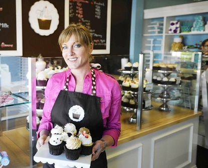 """Shelley Stannard, who appeared on Food Network's """"Cupcake Wars,"""" and won, at her newly opened """"Flavor Cupcakery"""" location in Cockeysville."""