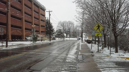 Hickory Avenue in downtown Bel Air was clear but devoid of traffic shortly after 9 a.m. Wednesday following an overnight snowstorm that closed schools for the day. Accumulations ranged