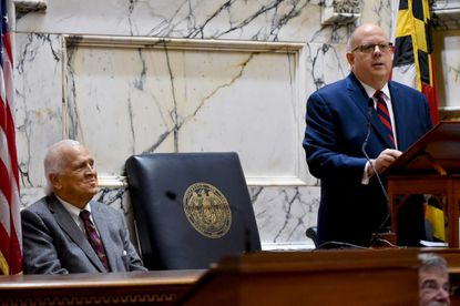 "<p>Senate President Thomas V. ""Mike"" Miller, left, listens to Gov. Larry Hogan during the State of the State address. Hogan, a cancer survivor, offered Miller his support in Miller's battle against prostrate cancer. </p>"