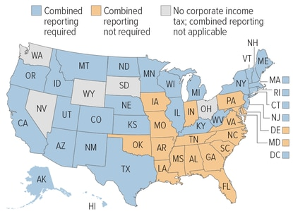Twenty-eight states, plus Washington D.C., require combined reporting for corporate income taxes. Mostly southeastern states, including Maryland, have resisted the practice. (Handout/Center on Budget and Policy Priorities).