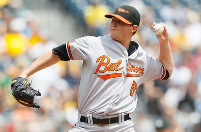 Orioles starter Zach Britton pitches against the Pirates at PNC Park. He allowed five runs (three earned) on seven hits and a walk while striking out five over six innings in falling to 6-5.