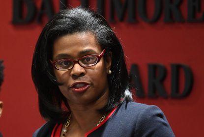 Sonja Santelises addresses Baltimore City school closures earlier this year during the coronavirus pandemic.