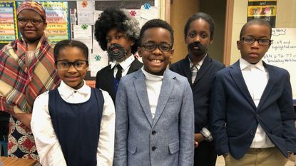 Fourth grade students in Kelly Heskett's class are: Natasha Brown as Harriet Tubman, Miriam Mgbaja as Rosa Parks, Kayode Ogunlegan as Frederick Douglas, David Curry as Benjamin Banneker, and Bailey Batte and Bilaal Rufai as George Washington Carver.