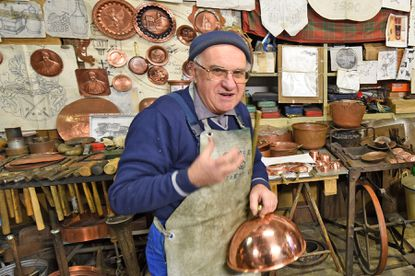 A coppersmith in Montepulciano, Italy.