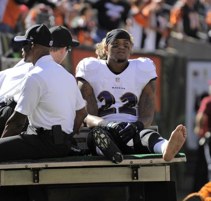 Ravens cornerback Jimmy Smith is carted off the field after a Lisfranc injury.