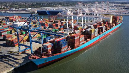 The Gunde Maersk, one of the largest ships to ever visit Baltimore with a capacity to handle 11,000 twenty-foot equivalent containers, is docked at Seagirt Marine Terminal in 2018. File.