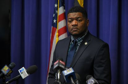 T.J. Smith, then spokesman for the Baltimore Police Department, speaks at a department news conference. Smith is running for the Democratic nomination for mayor June 2.
