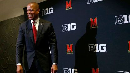 Maryland athletic director Damon Evans smiles after an introductory news conference, Tuesday, June 26, 2018, in College Park, Md. Evans, who joined the school in December 2014, replaces Kevin Anderson, who resigned in April.