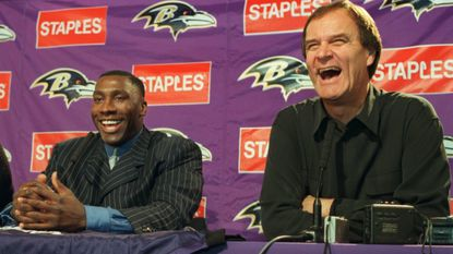 Tight end Shannon Sharpe at his introductory news conference with Ravens coach Brian Billick in February 2000.