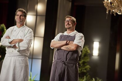 """TOP CHEF MASTERS -- """"Final cook - Ep. 410"""" --Pictured: (l-r) Kerry Heffernan, Chris Cosentino -- (Photo by: Isabella Vosmikova/Bravo)"""
