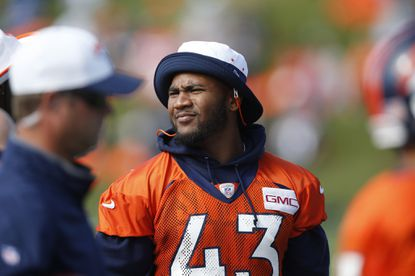Broncos strong safety T.J. Ward during drills at training camp.