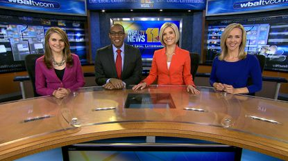 Traffic reporter/anchor Sarah Caldwell (right, with Ava Marie, Jason Newton and Mindy Basara) is leaving WBAL for the Institute of Notre Dame.