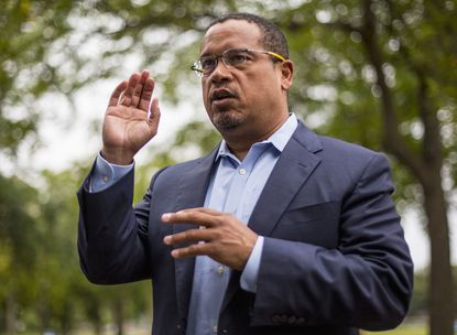 In this Aug. 17, 2017, photo, U.S. Rep. Keith Ellison addresses campaign volunteers and supporters in Minneapolis. Ellison denies the accusations in August 2018 from former girlfriend that he once physically abused her.