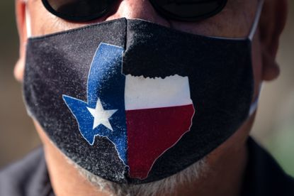 San Jose Hotel engineering manager Rocky Ontiveros, 60, wears a Texas mask on March 3, 2021, in Austin, Texas.
