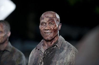 Former Steelers receiver Hines Ward just can't wipe that ridiculous grin off of his face, even when he's supposed to be a zombie.