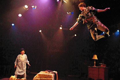"""Jace Franco and MaryKate Brouillet in """"Peter Pan,"""" continuing at Toby's Dinner Theatre of Columbia."""