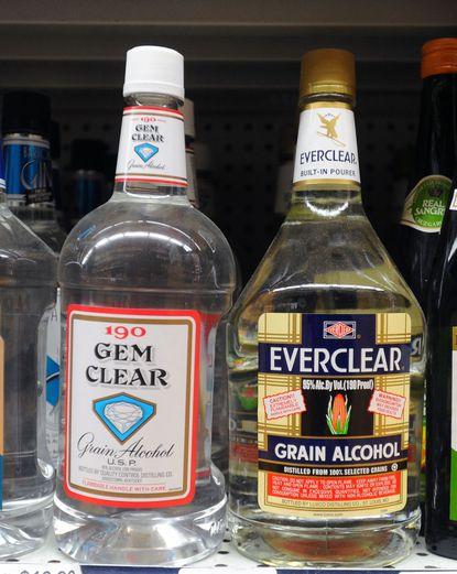 Bottles of grain alcohol on the shelf at Eddie's Liquors in Roland Park.