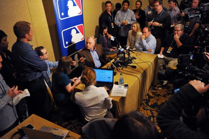 Orioles manager Buck Showalter addresses the media at the winter meetings in Nashville on Tuesday afternoon.