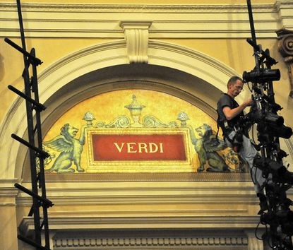 The name of composer Giuseppe Verdi is among those honored inside the Lyric Opera House. His first hit, 'Nabucco,' will be performed there May 9 and 11, 2014.