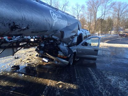 Tanker, SUV accident backs up traffic at Route 152 and I-95 in Joppa