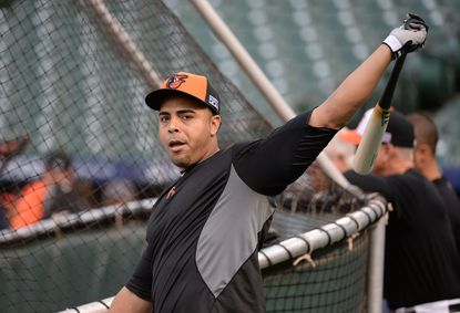 Orioles designated hitter Nelson Cruz during workouts the day before Game 1 of the 2014 ALCS against the Kansas City Royals at Oriole Park at Camden Yards.