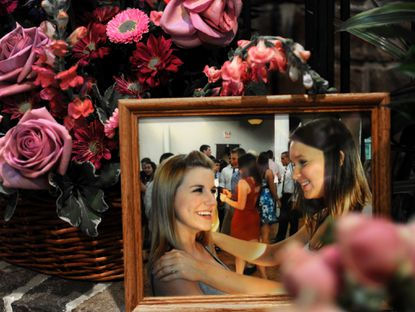 A photograph shows friends Elizabeth Nass, left, and Rose Louese Mayr, who were killed in a train derailment in Ellicott City.