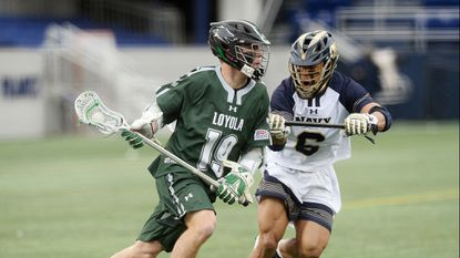 Aidan Olmstead, pictured in a game at Navy on March 17, is a freshman attackman for the No. 8 Loyola Maryland men's lacrosse team. He ranks second on the team in assists and third in points.