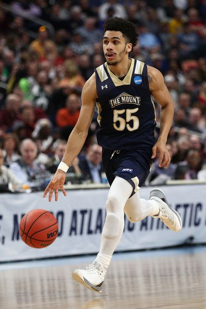 Mount St. Mary's guard Elijah Long drives against Villanova in the second half during the first round of the 2017 NCAA Men's Basketball Tournament at KeyBank Center on March 16, 2017 in Buffalo, New York.