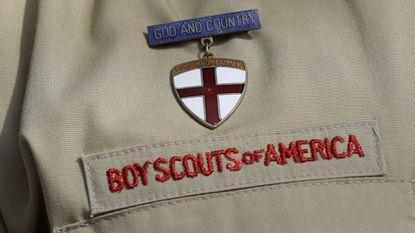 A detail photo of a Boy Scout uniform.