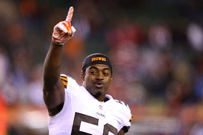 Linebacker Karlos Dansby of the Cleveland Browns celebrates after defeating the Cincinnati Bengals 24-3 on Thursday night.