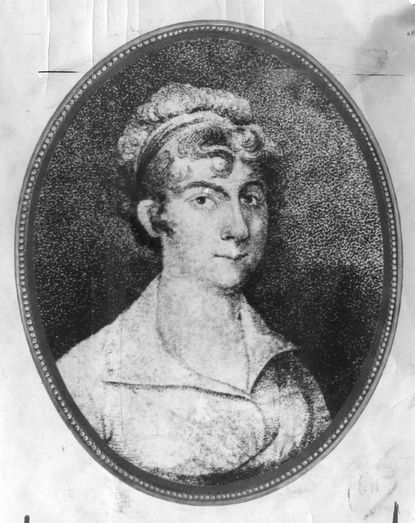 Mary Katherine Goddard, Baltimore print shop owner. Illustration circa 1700s.