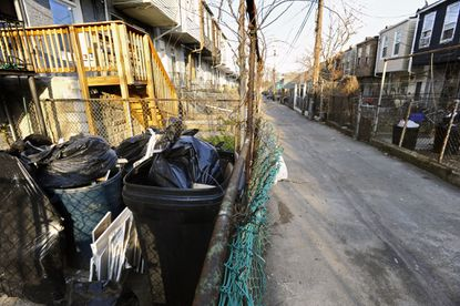 This is the alley behind the 1600 block of Darley Avenue where the body of 13-year-old Monae Turnage was found covered by garbage bags.
