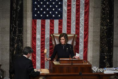 Speaker of the House Nancy Pelosi, D-Calif., oversees a vote on the articles of impeachment against President Donald Trump on Wednesday, Dec. 18, 2019. MUST CREDIT: Washington Post photo by Matt McClain