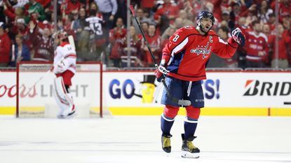Alex Ovechkin of the Washington Capitals celebrates after scoring a first period goal against the Carolina Hurricanes in Game 1 of the Eastern Conference first round during the Stanley Cup playoffs at Capital One Arena on April 11, 2019 in Washington.