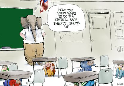 """Republican teacher """"Now you know what to do if a critical race theorist shows up."""" July 12, 2021. (Bill Bramhall/Tribune Content Agency)."""