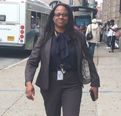 Baltimore Police Detective Dawnyell is shown arriving at court last summer.
