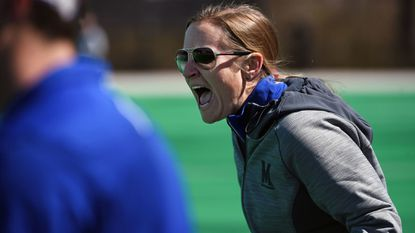 Cathy Reese, Maryland women's lacrosse head coach. Maryland's No. 4 women's lacrosse team takes on No. 3 James Madison at the University of Maryland Field Hockey & Lacrosse Complex.