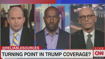 """CNN political commentator Van Jones (center) called Donald Trump's comment about African nations the """"definition of racism"""" in a discussion Sunday on """"Reliable Sources"""" with host Brian Stelter (left) and me."""