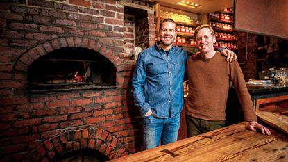 Tessemae's CEO Greg Vetter, left, and Spike Gjerde have partnered to sell Gjerde's Snake Oil hot sauce through Tessemae's website.