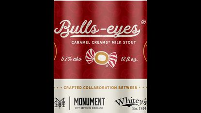The can art for Bulls-Eyes Caramel Creams Milk Stout, which will be released Friday at Monument City Brewing Co.'s taproom in Highlandtown.