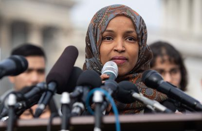 In this file photo taken on Feb. 7, Rep. Ilhan Omar, a Democrat of Minnesota, speaks during a press conference calling on Congress to cut funding for U.S. Immigration and Customs Enforcement (ICE) and to defund border detention facilities.