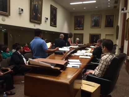 Mary Bond testifies against the renewal of Stadium Lounge's liquor license at a protest hearing Thursday.