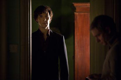 "Benedict Cumberbatch, left, plays Sherlock Holmes and Martin Freeman plays John Watson in ""Sherlock,"" whose third season starts Sunday on PBS."