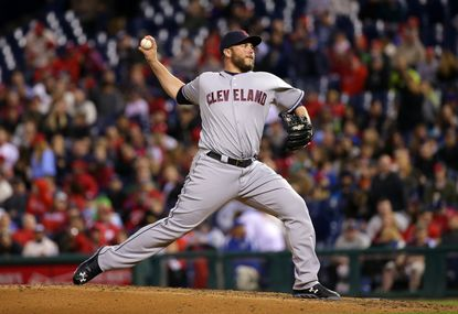 Indians pitcher Tommy Hunter throws during a game in April against the Phillies.