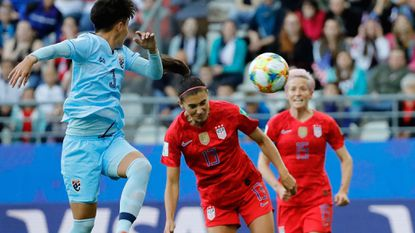 U.S. forward Alex Morgan heads the ball for a goal against Thailand during a Women's World Cup game Tuesday in France.