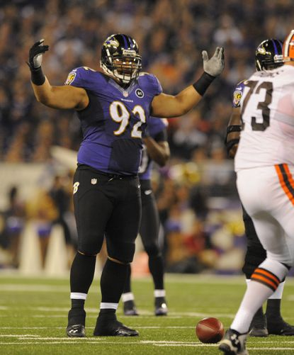 Haloti Ngata gets ready for the snap against the Cleveland Browns on Sept. 27.