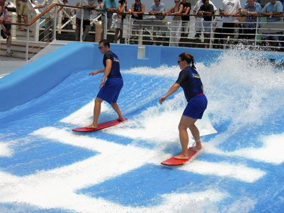 The FlowRider, a surfing machine, is featured on Royal Caribbean's Liberty of the Seas.