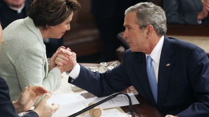President Bush shakes hands with Speaker of the House Nancy Pelosi after his State of the Union speech in January 2007. Bush said how proud Pelosi's late father, former Maryland Representative and Baltimore Mayor Thomas D'Alesandro Jr., would have been to see her as speaker.