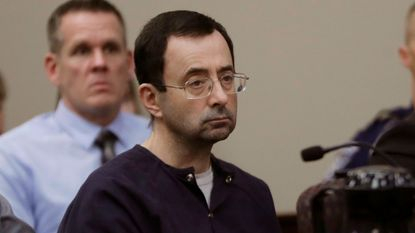 Larry Nassar in court during his sentencing hearing on Jan. 24, in Lansing, Mich.