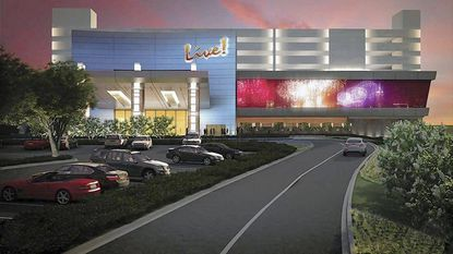 Shown is a rendering of the entrance Maryland Live! Casino, set to open June 6 in Hanover.